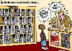 Hollywood video rental store (cartoon by Latuff)