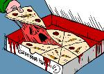 Israeli war crimes and pizza (by Latuff)