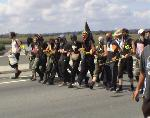 Demonstrators break off the March For Palestine and head for Sea Island