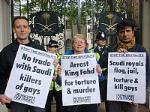 International Day Against Homophobia protest against Saudi torture & executions.