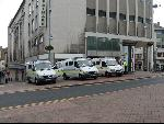 Police vans parked near Castle Square