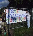 residents erect a banner
