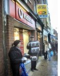 Activists protest outside an empty vodafone store in Worcester