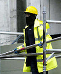 Masked construction worker.