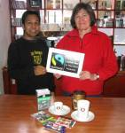 Sam Alim pictured with supporter Claire Short at Cafe One