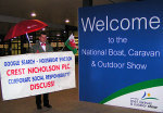 One Man Picket Welcome National Boat, Caravan and Outdoor Show Birmingham NEC