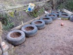 tyres laid out