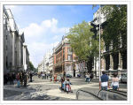 Artist impression of shared street in Exhibition Road
