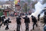 Police and protesters clash at Kalanki