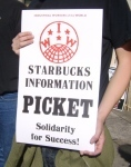 Placard from Starbucks picket. Keep up the boycott!