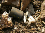 Unexploded cluster bomb submunition in Siddiqine