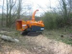 Woodchipper for felled trees - Liverpool Garden Festival Site March 2007