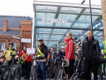 bike protest outside new terminal
