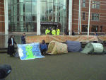 Climate camp set up outside court