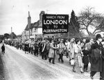 The mile long procession of marchers arriving at Aldermaston, 8th April 1958