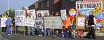 Demo by local Greyhound Action supporters outside Peterborough Stadium