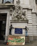 Forest Activists Drape banner at High Commision in London