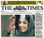 The Times' front page on the eve of June 2009 presidential elections in Iran