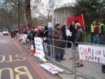 Demonstrators outside the Libyan Embassy on 5 March