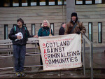 Barbara Dowling (centre) outside the court in Glasgow on 26 January