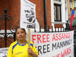 supporter outside the Ecuador Embassy, London
