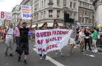 Queer Friends of Bradley Manning with banner at Pride London 2011