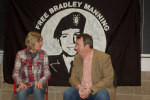 Chelsea Manning's mum Susan with Gerry Conlon at Trinity College