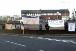 Wrexham banners back in 2003, protesting the Iraq war