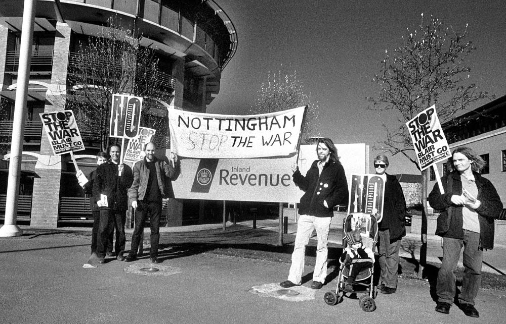 Stop the War Protest at Nottingham Tax Office on budget morn