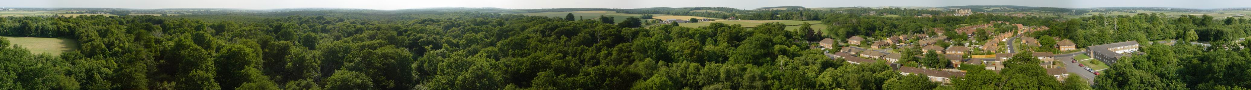 360 degree tree top panorama of countryside to be trashed