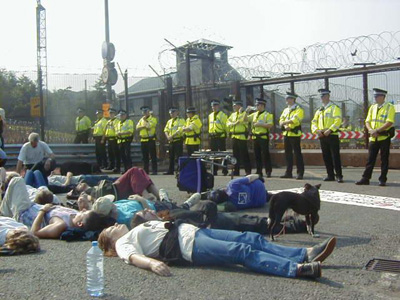 A die-in to blockade the front gate