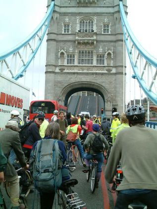 Even Critical Mass has to wait when Tower Bridge is up