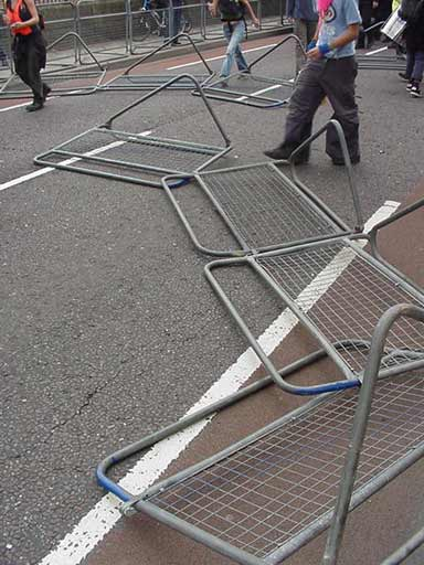 crash barriers dragged into road
