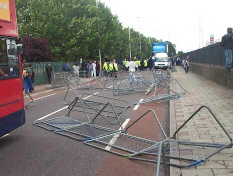 crash barriers dragged into road 2