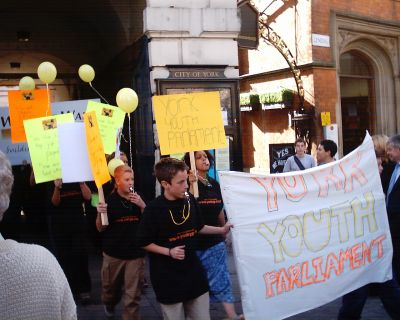 York Youth Parliament head the march out of the Guildhall