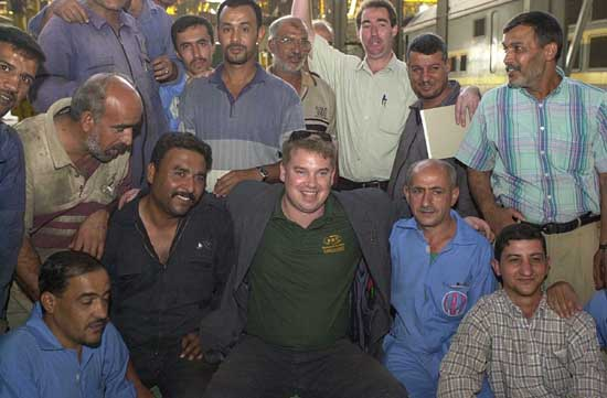 Alex Gordon with Iraqi rail workers