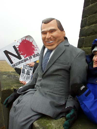 The effigy of Bush on the gallery of Stoodley Pike