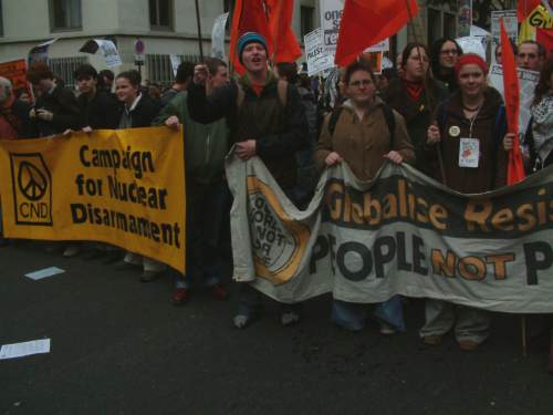 An British contingent, CND and Globilise Resistance march together
