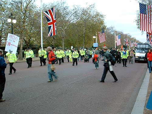 The police fail to stop a crowd getting to the tea party.