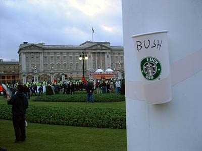 Subverted Starbucks cup sends a message to the Palace.