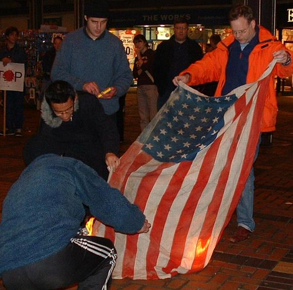 no shortage of people to help get the flag burning