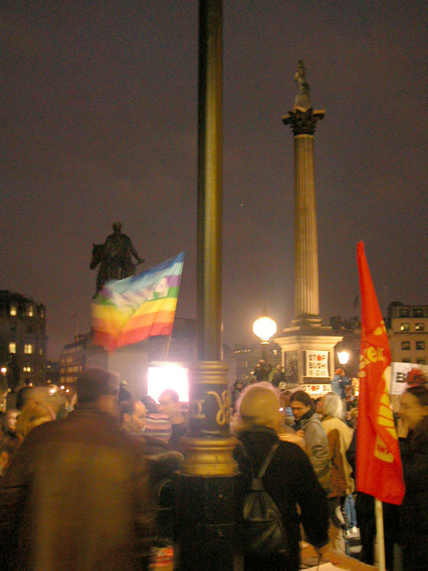 Evening protest in Trafalgar Square