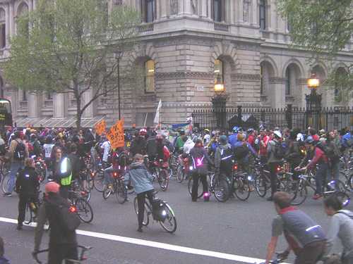 Critical Mass stops outside Downing Street