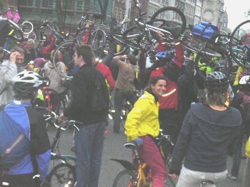 Cycle power outside Downing Street