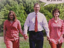 Katherine Blair with her war crime suspect dad and relatively crime free mum