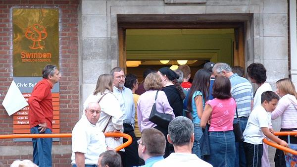 Queueing to get into the civic offices