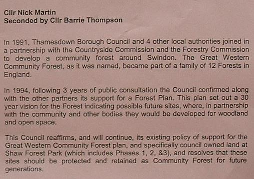 The motion being debated by the Swindon Borough Council