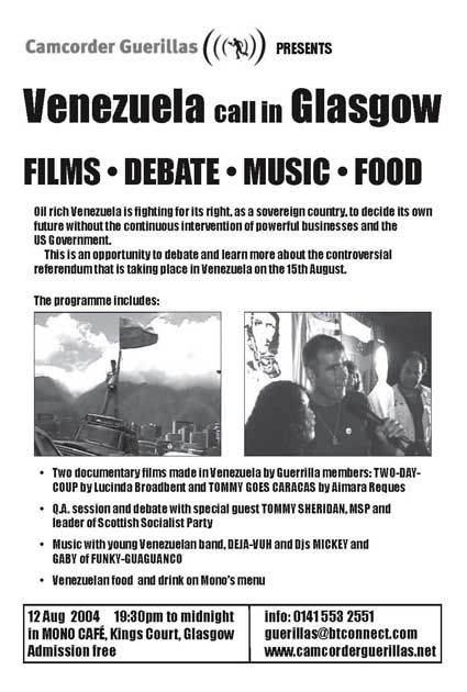 flyer for the Camcorder Guerillas video screening