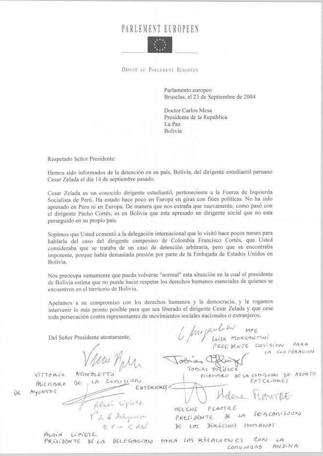 EuroMPs letter of protest