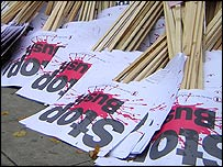 `Stop Bush` placards.